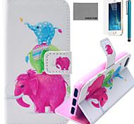 Coco fun® bonito padrão familiar elefante estojo de couro pu com protetor de tela e cabo USB e caneta para iPhone 5 / 5s