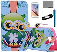 Coco fun® padrão da coruja verde estojo de couro pu com filme e cabo USB e caneta para Samsung Galaxy S6