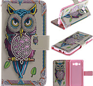 Personality Owls PU Leather Full Body Case with Stand and Card Slot for Samsung Galaxy E5/E500