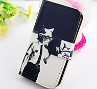 About One Cat Wallet Stand PU Leather Case For Samsung Galaxy S2 SII I9100