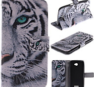 White Tiger Design PU Leather Full Body Case with Kickstand and Card Slot for Sony E4
