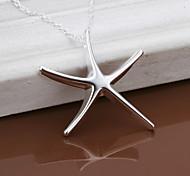 pendents encantadores forma estrellas de mar de las mujeres de plata
