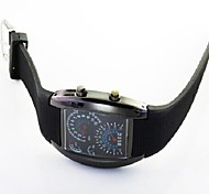 Fashion LED Light Instrument Panel Plastic Watch(Black)(1Pc)