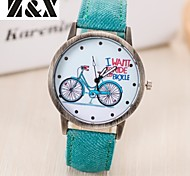 Women's Fashion Diamond Colorful Bicycle Design Quartz Analog Denim Cloth Band Wrist Watch(Assorted Colors) Cool Watches Unique Watches