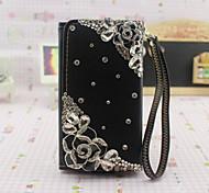 strass bloem design pu leahter portemonnee Case voor Samsung Galaxy s6 / s6 edge