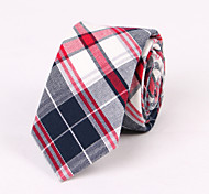 Blue And Red Plaid Cotton Thin Tie