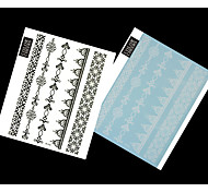 2PCS Black and White Lace Pattren Waterproof Tattoo Sticker