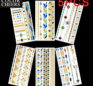 5Pcs All Different Patterns Long Bracelet Tattoo Sticker(Random Patterns) 23x11CM
