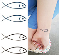 Lovely Fish Swimming with You Forever Tattoo Stickers Temporary Tattoos(1 Pc)