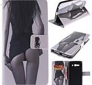 estojo de couro sexy girl design pu com snap magnético e slot para cartão de Alcatel One Touch pop c9