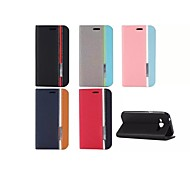 For Samsung Galaxy Case with Stand / Flip Case Full Body Case Solid Color PU Leather Samsung J5