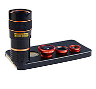 Apexel 4 in 1 lente kit 8x teleobiettivo + grandangolare + obiettivo macro + lente fisheye con il caso posteriore di iphone 5 5s