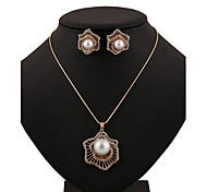 Women Party Imitation Pearl Flower Necklaces/Earrings Sets