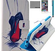 Coco fun® vermelho padrão de salto alto estojo de couro pu com protetor de tela e cabo USB e caneta para Iphone 6
