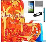 Coco fun® elefante floral estojo de couro pu laranja com filme e cabo USB e caneta para Samsung Galaxy a5 / A5000