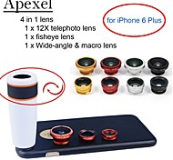 Apexel  4 in 1 Lens Kit 12X White Telephoto Lens+Fisheye Lens+Wide-angle+Macro Camera Lens with Case for iPhone 6 4.7""