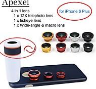 Apexel 4 in 1 kit obiettivo 12x bianco teleobiettivo + fisheye + grandangolare + macro obiettivo della fotocamera con cassa per iphone 6