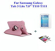 "360 Rotating Leather Stand Case Cover For Samsung Galaxy Tab 3 Lite 7.0 T110 7"" Tablet + Screen Protector + Pen"