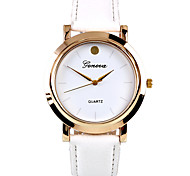 Simple Metal With Leather Wristwatch(White)(1Pcs)