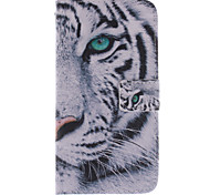 Fashion Design COCO FUN® White Tiger Pattern PU Leather Wallet Case Cover for Samsung GALAXY Grand Prime G530