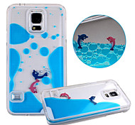 KARZEA™Unique Design Fluid Liquid Flowing Dolphin Crystal Clear PC Hard Case Cover for Samsung S5 i9600(Assorted Colors)