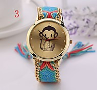 New  Beautiful  Women Watches Gold Wristwatch Ladies Quartz Watches Geneva Handmade Weave Braided  Monkey  Bracelet