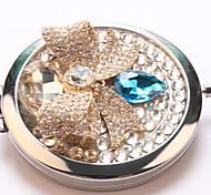 Sapphire Bow Pocket Makeup Mirror Cosmetic Hand Portable Miroir Espelho Espejo De Maquiagem Bolso Maquillaje Bling