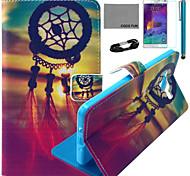Coco fun® teste padrão de nó chinês estojo de couro pu com filme e cabo USB e caneta para Samsung Galaxy a7
