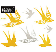 1Pc Gold and Silver Swallow Waterproof Tattoo Sticker 15x11.5