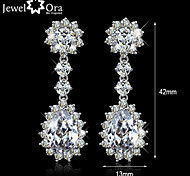 Wedding Jewelry Charming Earrings Brass with rhodium plated Elegant Women Dangle CZ stone Earrings