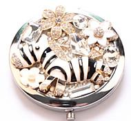 Small zebra Pocket Makeup Mirror Cosmetic Hand Portable Miroir Espelho Espejo De Maquiagem Bolso Maquillaje Bling
