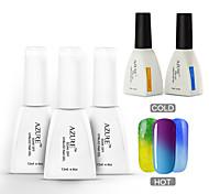 Azure 5 Pcs/Lot Gel Polish Chameleon Temperature Colour Change Nail Art Soak Off  UV Gel Nail(#21+#31+#33+BASE+TOP)