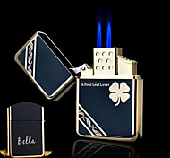 Personalized Gift Clover Design Boutique Metal Black Double Flame Butane Lighter