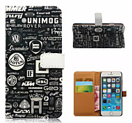 Logo Pattern Wallet Card PU Case With Stand for iPhone 6
