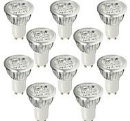 6W GU10 Lâmpadas de Foco de LED 4 LED de Alta Potência 530-580 lm Branco Frio AC 100-240 V 10 pçs