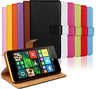Plain Leather Wallet Card PU Case with Stand for Microsoft Lumia 640 XL(Assorted Colors)