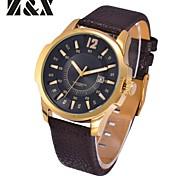 Men's Fashion Big Dial  Calendar Quartz Analog Leather Band Business Wrist Watch(Assorted Colors)