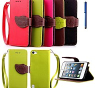 4.0 Inch Leaf Pattern PU Wallet Leather Case with Pen for iPod touch 5 (Assorted Colors)