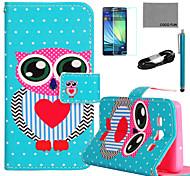 Coco fun® padrão azul da coruja capa de couro pu com filme e cabo USB e caneta para Samsung Galaxy a7