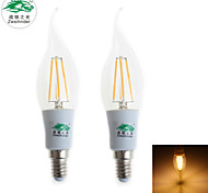 Zweihnder E14 4W 380LM 3000-3500K LED Tungsten Core Warm Light Candle Light (AC 85-265V,2Pcs)