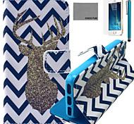 padrão de veados onda estojo de couro pu Coco fun® com protetor de tela e cabo USB e caneta para iPhone 5 / 5s