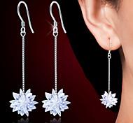 925 Silver Long Snow White Sterling Silver Gem Drop Earrings