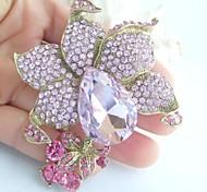 Women Accessories Gold-tone Pink Rhinestone Crystal Flower Brooch Art Deco Crystal Brooch Bouquet Women Jewelry