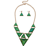 D Exceed Zinc Alloy Gold Plated Resin Jewelry Sets Geometry Pendant Green Statement Necklace with Earrings for Women