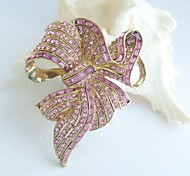 Women Accessories Gold-tone Pink Rhinestone Crystal Bowknot Brooch Art Deco Crystal Sash Brooch Women Jewelry