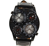 OULM® Men's Military Style Dual Time Zones Leather Band Quartz Wrist Watch Cool Watch Unique Watch