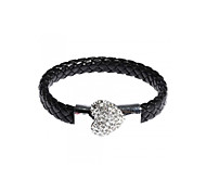 Bracelet Bangle Braided Leather Heart Shape Crystal Magnetic Clasp