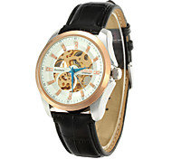 CJIABA Men's Fashion Leather Strap Rhinestone Decoration Hollow Out Auto Mechanical Wristwatch (Two Colors Options)