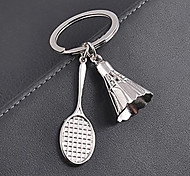 Stainless Steel Badminton Badminton Racket Key Chain Ring Keyring