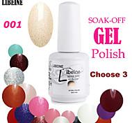 LIBEINE 3 pcs/lot 15 ML UV Color Gel Nail Polish No.001(Glitter Clear Pink)